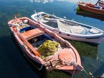 Kleine Houten Vissersboten, Griekenland Stock Foto
