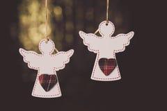 Kleine houten witte engelen Stock Foto