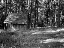 Kleine hut in het midden van bos Stock Foto's