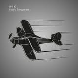 Kleine Illustration des flachen Vektors Einmotorige angetriebene Doppeldeckerflugzeuge Auch im corel abgehobenen Betrag Stockfotos