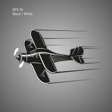 Kleine Illustration des flachen Vektors Einmotorige angetriebene Doppeldeckerflugzeuge Auch im corel abgehobenen Betrag Lizenzfreies Stockfoto