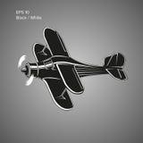 Kleine Illustration des flachen Vektors Einmotorige angetriebene Doppeldeckerflugzeuge Auch im corel abgehobenen Betrag Lizenzfreie Stockbilder