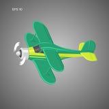Kleine Illustration des flachen Vektors Einmotorige angetriebene Doppeldeckerflugzeuge Auch im corel abgehobenen Betrag Stockbild