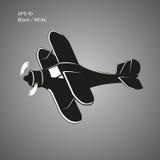 Kleine Illustration des flachen Vektors Einmotorige angetriebene Doppeldeckerflugzeuge Auch im corel abgehobenen Betrag Lizenzfreies Stockbild