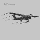 Kleine Illustration des flachen Vektors Einmotorige angetriebene Flugzeuge Auch im corel abgehobenen Betrag ikone Stockfoto