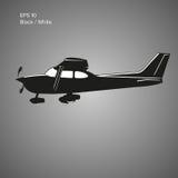 Kleine Illustration des flachen Vektors Einmotorige angetriebene Flugzeuge Auch im corel abgehobenen Betrag ikone Stockfotografie