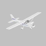 Kleine Illustration des flachen Vektors Einmotorige angetriebene Passagierflugzeuge Helle Flugzeuge Auch im corel abgehobenen Bet Lizenzfreies Stockbild