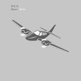 Kleine Illustration des flachen Vektors Zweistrahlige angetriebene Flugzeuge Stockfotos