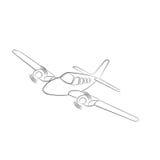 Kleine Illustration des flachen Vektors Zweistrahlige angetriebene Flugzeuge Auch im corel abgehobenen Betrag Hand gezeichnete Sk Stockbild