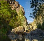 Kleine Insel in Alge-Fluss bei Fragas de Sao Simao Lizenzfreies Stockbild