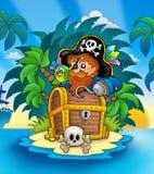 Kleine Insel mit Piraten und Kasten lizenzfreie abbildung