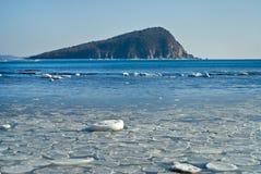 Kleine Insel in Wintermeer 20 Stockbild