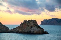 Kleine Inseln Es Malgrat und Sonnenuntergang Lizenzfreie Stockbilder