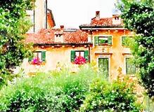 Kleine Italiaanse binnenplaats in Verona vector illustratie