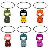 Kleine Japanse vrouwen vector illustratie