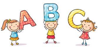 Kleine jonge geitjes die brieven houden stock illustratie