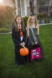 Kleine jonge geitjes gaande truc of het behandelen op Halloween in hun kostuums Stock Afbeelding