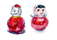 Kleine jonge geitjes Speelgoed en voorwerpen van zorg Waterverfhand geschilderde illustratie royalty-vrije illustratie