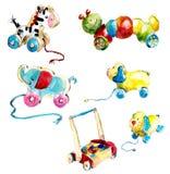 Kleine jonge geitjes Speelgoed en voorwerpen van zorg Waterverfhand geschilderde illustratie stock illustratie