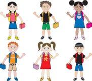 Kleine Jonge geitjes van alle rassen op School vector illustratie