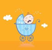Kleine jongen die in kinderwagen schreeuwt vector illustratie
