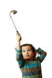 Kleine jongen met witte pot  Royalty-vrije Stock Afbeelding