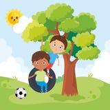 Kleine jongens die op het park spelen royalty-vrije illustratie