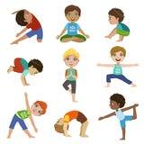 Kleine Jongens die Yogareeks doen vector illustratie