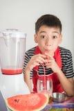 Kleine Jungen mischen Wasser melone Saft, indem sie Mischmaschinenhaus verwenden stockfotografie