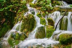 Kleine Kaskade von Wasserfällen in Plitvice Stockfotos
