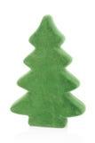 Kleine Kerstboom bij witte achtergrond Stock Foto
