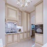 Kleine keuken in een klassieke stijl stock illustratie