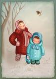Kleine Kinder im Winterwald Lizenzfreies Stockbild