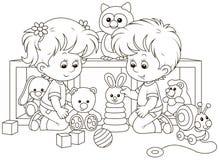 Kleine kinderen die in een kinderdagverblijf spelen vector illustratie