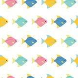 Kleine kleurrijke vissen op witte achtergrond Abstract vector naadloos patroon in vlakke stijl stock illustratie
