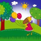 Kleine Krähe mit Ballonen. Karikatur Lizenzfreies Stockfoto