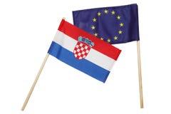 Kleine Kroatische & de EU-vlag stock afbeelding