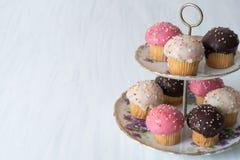 Kleine Kuchen auf Platten-Front Stockbild