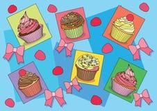 Kleine Kuchen beugen auf Hintergrundillustrationsvektor stock abbildung