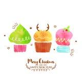 Kleine Kuchen für Weihnachts- und des neuen Jahresfeier lizenzfreie abbildung