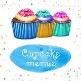 Kleine Kuchen Menue lizenzfreie abbildung