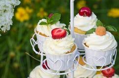 Kleine Kuchen mit Beeren Stockbilder