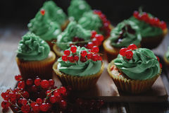 Kleine Kuchen mit Pistaziencreme Lizenzfreies Stockbild
