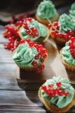 Kleine Kuchen mit Pistaziencremenahaufnahme Lizenzfreies Stockbild