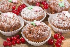 Kleine Kuchen, Muffins auf einem Holztisch lizenzfreies stockfoto