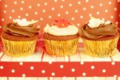 Kleine Kuchen verziert im schicken Tupfenhintergrund Stockbilder