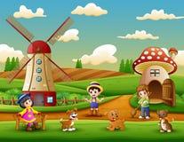 Kleine landbouwers een activiteit in het landbouwbedrijf stock illustratie