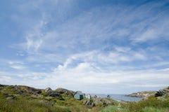Kleine landelijke oceaanstad Stock Foto's