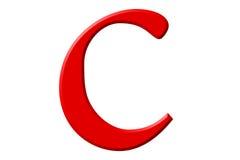 Kleine letter C, die op wit wordt geïsoleerd, met het knippen van weg, 3D IL Royalty-vrije Stock Foto's