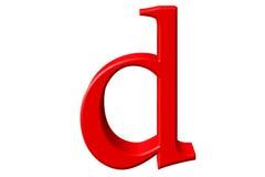 Kleine letter D, op wit wordt geïsoleerd, met het knippen van weg, 3D IL dat vector illustratie